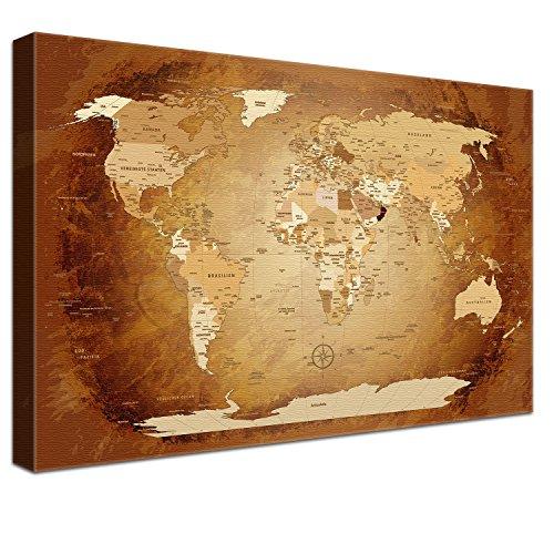 """LanaKK – Weltkarte Luxus Ausführung – """"Worldmap Braun Colorful"""" - deutsch - Kunstdruck-Pinnwand auf 4cm Echtholz-Keilrahmen – Globus in braun, einteilig & fertig gerahmt in 120x80cm"""