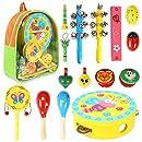 CRZKO Instrumentos Musicales para niños 15 en 1 Juguete para niños Mini Banda Percusión de Madera, Juego de percusión para niños y niñas Regalos de ...