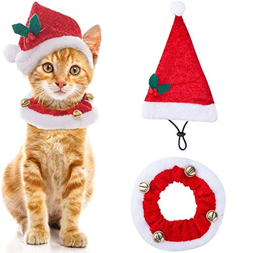 SCENEREAL Christmas Cat Costumes Santa Hats and Collar for Cats Small Dogs Tiny Pets X-mas Gifts