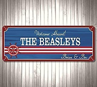 Personalized Boat Sign Nautical Decor with Your Custom Name - Welcome Aboard Ship Sign Boat Dock Decor