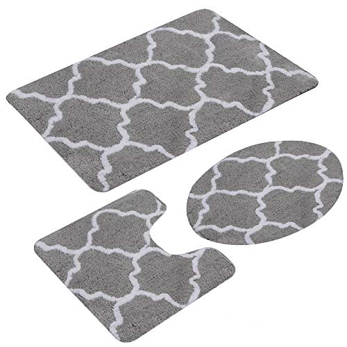 Beacon Pet 3 Pieces Bathroom Rugs Set, Ultra Soft Non Slip Bath Rug and Absorbent Bath Mat, Includes U-Shaped Contour Rug, Bath Mat and Toilet Lid Cover, Perfect for Bathroom(Grey)
