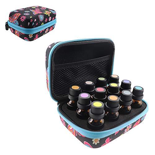 Arxus Caja de Aceite Esencial con Botellas 60/30/12 para Bolsa de Organizador de EVA de Aceite Esencial de 5ml/10ml/15ml con Asa de Transporte para Viajes y Almacenamiento