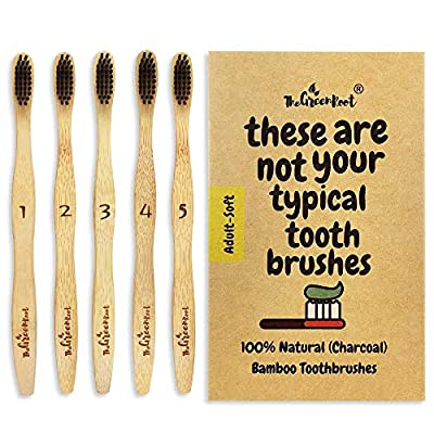 Natural Charcoal Bamboo Toothbrushes (Pack of 5) for Adults with Soft Bio-Based Nylon Bristles - Individually Packed & Numbered, Organic Compostable Plastic Free Packaging