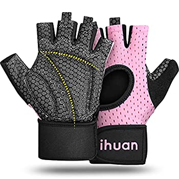ihuan Breathable Weight Lifting Gloves for Men & Women Fingerless Workout Gym Gloves with Wrist Support | Enhance Palm Protection | Extra Grip for Fitness | Lifting | Training | Rowing | Pull-ups…