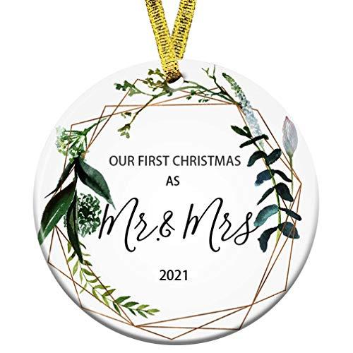 Kooer First Christmas as Mr Mrs Ornament 2021 Wedding Shower Gift 2021 Wedding Ornament (Mr & Mrs)