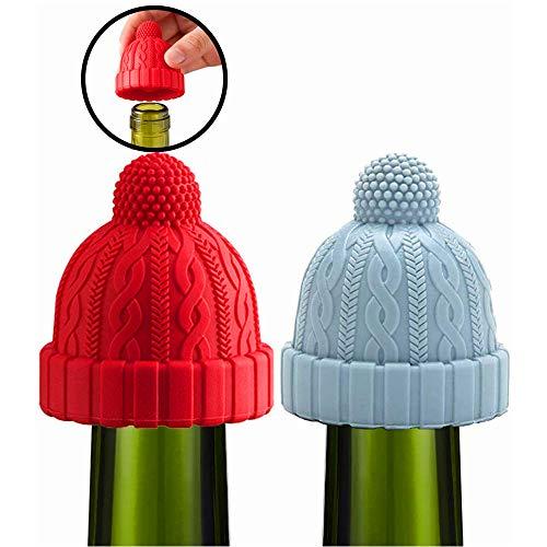 Dekorativer Weinstopfen aus Silikon, wiederverwendbar, für Wein, Bier, Champagner, Alkohol, Sekt, Sekt, Blau, Rot, 2 Stück