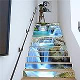 BLOUR PVC Tapete Wasserfall Grafiken, einfache 13 Stück DIY Treppenaufkleber, Stufenaufkleber, Wandaufkleber - 5