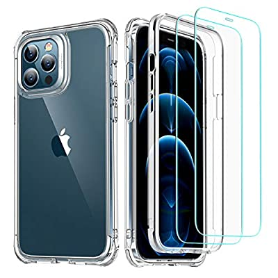 """ESR Alliance Series Compatible with iPhone 12 Case/Compatible with iPhone 12 Pro Case (2020) [2 Tempered Glass Screen Protectors] [Full-Body Hybrid Protection] [Shock-Absorbing], 6.1"""" – Clear"""