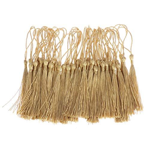 HEALLILY 100 Pezzi Nappa Cinese Nappa Fatta a Mano per segnalibri Decorazione Artigianato (Oro)