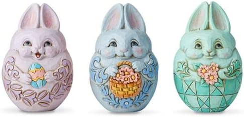 Enesco Jim Shore Heartwood Creek Set 好評 of Eggs Mini Bunny 3 当店一番人気