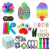 30 PCSシンプルな感覚のフィジットのおもちゃセット、フィジットパック安い、シンプルなディンプルフィジットのおもちゃ箱、ストレスリリーフキット子供大人のための強力な不安ツール (Color : B-30pcs)