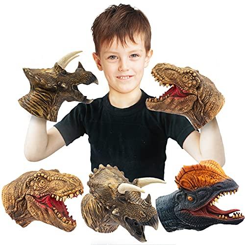 CreepyParty Dinosaurier Handpuppen Dino Spielzeug Latex Raptor Realistische Puppe Weicher Tierkopf Gummispielzeug Set T Rex Puppe Tyrannosaurus Dilophosaurus Triceratops 3er Pack