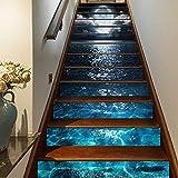 FLFK 3D Selbstklebend Treppen Aufkleber Vinyl Abnehmbare Aufkleber für Treppenhaus Zuhause Dekoration 39.3Zoll x7.08Zoll x13 stücke (GXL813_13pcs)