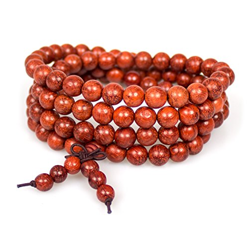 Mala Beads Mens Women Tibetan 108 8mm Rosewood Prayer Beads Chinese knot Wrist Bracelet Necklace (Cat's-Eye-Sandalwood)