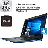 2020 Newest Dell Inspiron 15 3000 Laptop Computer for Student_ Intel Core i5-1035G1 up to 3.6GHz_ 15.6' FHD Touchscreen_ 12GB DDR4_ 512GB PCIe SSD_ AC WiFi_ Windows 10 Home_ BROAGE Mouse Pad