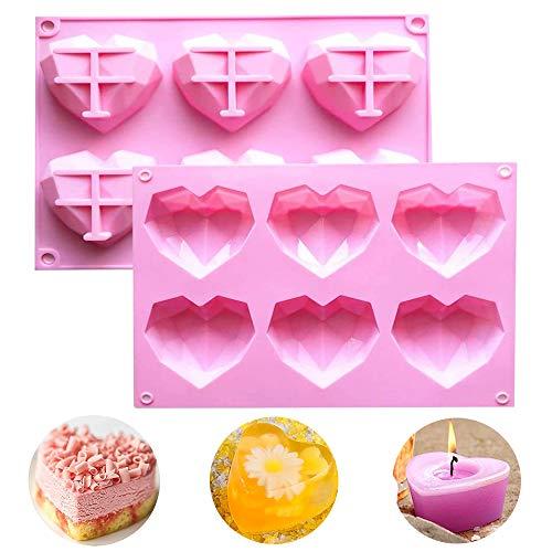 WELLXUNK Moldes Silicona Corazón, 2 Pcs Molde De Pastel De Mousse 3D, Herramientas Para Hornear Bricolaje, Molde De Silicona Para Hornear Adecuado Para Pastel De Mousse