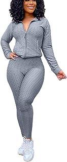 Chongmu 2 Piece Zipper Tracksuit Set for Women Long Sleeve Jacket Workout Outfits Jogging Sweatsuit Skinny Sweatpants