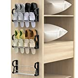 Yocice Wall Mounted Shoes Rack 3Pack/Can Store 6Pairs Sneakers and 6Pairs Slide Sandal,with Sticky Hanging Mounts, Shoes Holder Storage Organizer Shelf ,Door Shoe Hangers,Black,SM05-1.75inch-3Pack