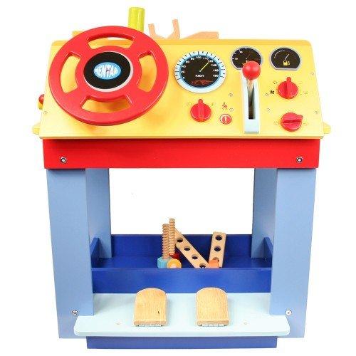 Kinderwerkbank / Auto-Fahrsimulator Kinder-Werkbank | Kinder Hobelbank | doppelseitiges Spielvergnügen | große Ablageflächen | Lenkrad und Schalthebel | stabil und standsicher | kreative Spielergebnisse | Holzspielzeug Peitz - 3