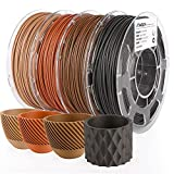 AMOLEN Real Wood 3D Printer Filament Bundle, PLA Filament 1.75mm Bundle, Dark Walnut Wood,Bamboo Wood,Red Wood,Ebony/Black Wood, 3D Printing Filament Bundles, 200g x 4 Spools