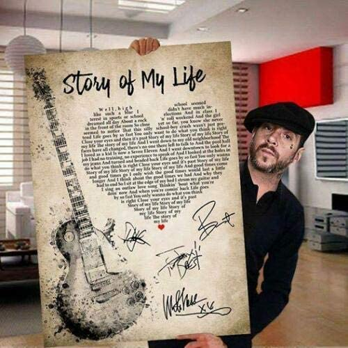 Story of My Life Lyric Song Distortion Signed Can Poster Social shipfree Beauty products
