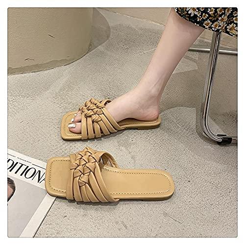 NJZYB Zapatilla De Playa De Verano Zapato De Mujer Tejida Chanclas Zapatos Casuales Desgaste Al Aire Libre Sandalias Zapatilla (Color : Yellow, Size : 37)