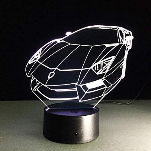 Color 3D Luz nocturna Coche deportivo Auto Holograma 3D Iluminaci¨n del hogar Decoraci¨n del dormitorio Escritorio L¨¢mpara de mesa El mejor regalo para el ventilador de la m¨¢quina autom¨¢tica