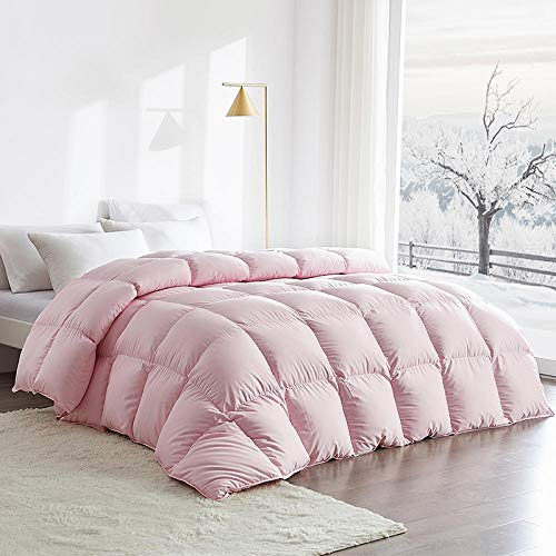 Hahaemall all seasonss duvet double The winter duvet white goose duvet can be used for family and hotels-100% Cotton Anti Dust Mite&Down Proof Fabric-Anti Allergen Winter Quilt-150X200cm-3000g_Pink