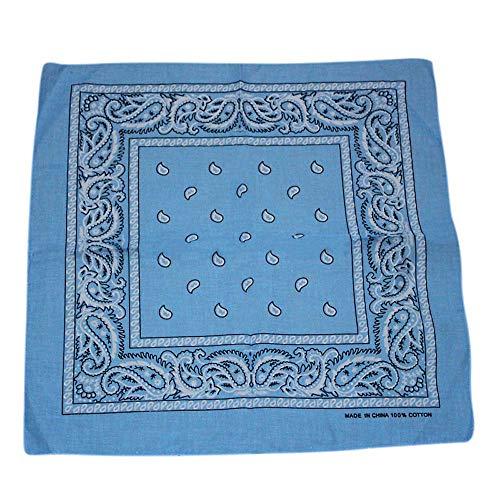 MOTOCO Bandana Kopftuch Halstuch Paisley Muster Einstecktücher Handgelenk Multifunktionstuch für Damen und Herren (55X55CM.Himmelblau)