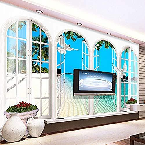 XHXI Moderno creativo ventana falsa océano azul naturaleza paisaje arte impresión foto papel tapiz c Pared Pintado Papel tapiz 3D Decoración dormitorio Fotomural sala sofá pared mural-250cm×170cm