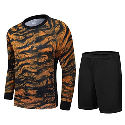 QGGESY Torwart-Trikot-Uniform-Set mit Schutzpolstern, Langen Ärmeln und Shorts in Kinder- und Erwachsenengrößen,Black,XL