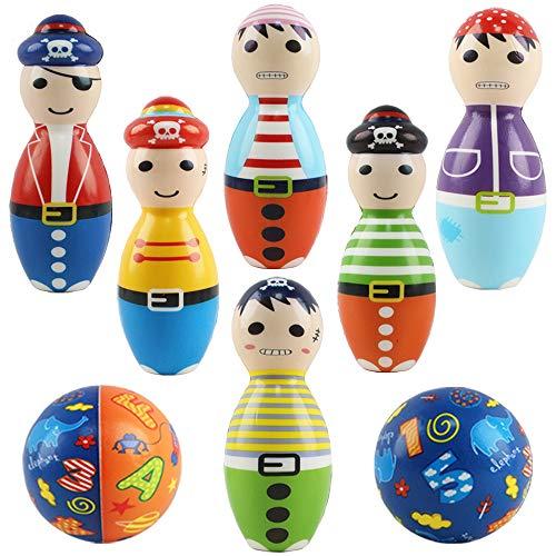 deAO 8 teiliges Weichschaum Mehrfarbiges Piratenkegel Bowling Innen Außen Garten Spielset für Babys Kleinkinder Kinder