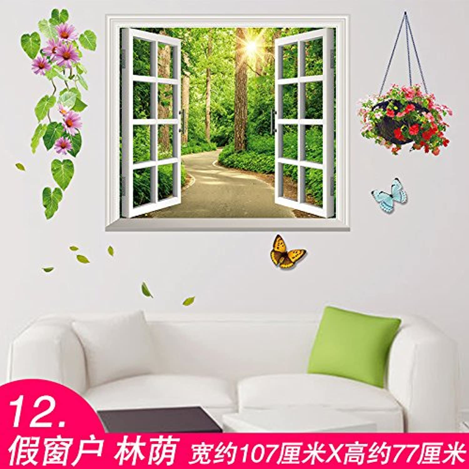 Znzbzt Wall Panel self Adhesive Wallpaper Wall Decor Stickers Bearing Creative Garden Wallpaper Posters, Window
