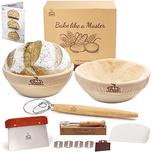 Bread bunnies 9' Banneton Bread Proofing Basket Round Set of 2 for Baking | Sourdough Making Starter Kit w/ Baskets, Bowl & Dough Scraper, Whisk, Scoring Lame, Replaceable Blades | Bakers' Tool Gifts