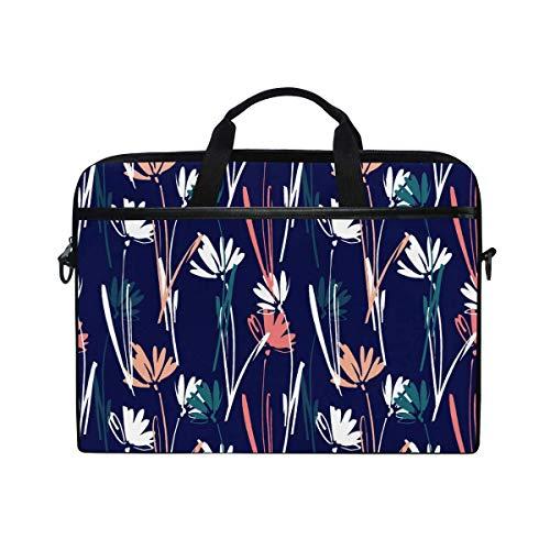 Laptop Sleeve Case,Laptop Bag,Colorful Flower Plants Pattern Water Briefcase Messenger Notebook Computer Bag with Shoulder Strap Handle,28.5×38 CM/14 Inch