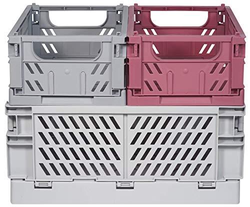 Kindsgut Klappkisten-Set, faltbare Aufbewahrungs-Box aus Kunststoff, mehr Ordnung in dezenten Farben und schlichtem Design, stapelbar, Clara