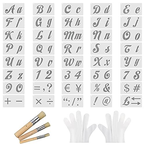 Mignor 40 Stück Buchstabe Schablone, Kuntstoff Alphabet Schablonen Stencil Set Bullet Journal Schablone für Handwerk,Gemälde Auf Holz Wiederverwendbar