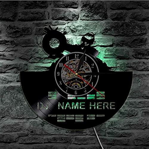 LTMJWTX Mezclador de DJ Reloj de Pared con Disco de Vinilo Reloj Decorativo para el hogar Música Moderna Reloj de Arte de Pared LED Nombre de DJ Personalizado Rock n Roll Hombres DJ Lovers Gift