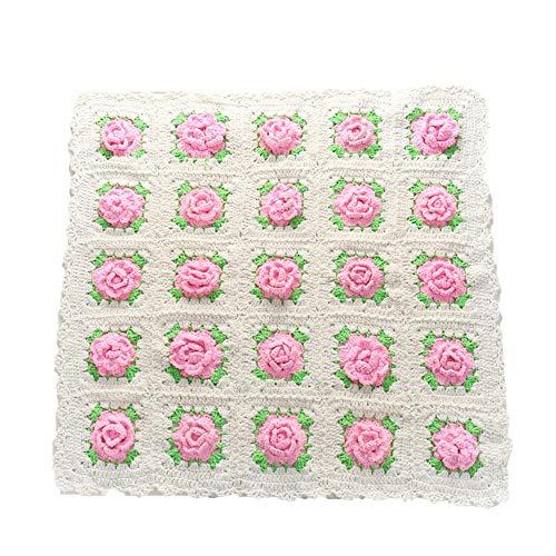 Disfraz de accesorios de fotografía para recién na Baby Photo Props Baby Pink Flower Mantas gruesas de punto Manta súper voluminosa Suave y cálida trenza Alfombra de punto Sofá Cama Salón Decorador de