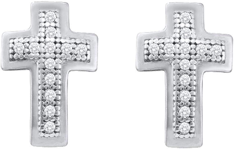 10kt White gold Womens Round Diamond Small Cross Screwback Earrings 1 10 Cttw