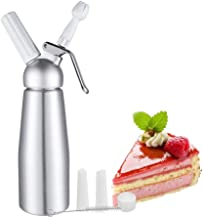 Whipped Cream Dispenser by Pehju, Professional Aluminum Cream Whipper Canister for Delicious Desserts Maker - 500ml / 1 Pint Capacity 7.5g-8g N2O Cream Chargers (Not Included)