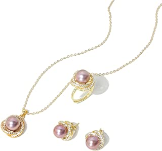 Kasoo Retro Freshwater Edison Pearl Jewelry Set 14K Gold Note Ring Necklace Earrings for Women