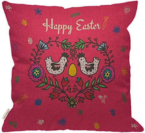 Happy Easter Day Throw Pillow Cover, Divertidos Dibujos Animados de Pollos y Huevo en Flor Rosa Decorativa Sofá Sofá Dormitorio Arpillera Fundas de Almohada para habitación