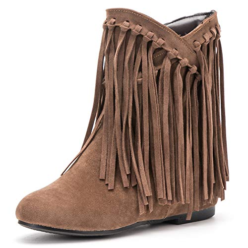 fereshte Women's Tassel Bootie Fringe Hidden Wedge Heel Ankle Boots Light Brown Label Size 39 - US 7