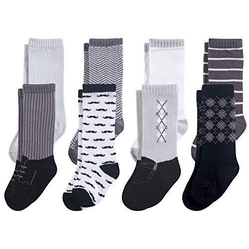 Hudson Baby Unisex Baby Cotton Rich Knee-High Socks, Black Gentleman, 12-24 Months