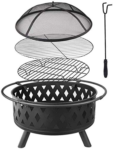 KAYBELE Fire Bowl Round Fire Pit Garden Metal Portable Fire Basket with Grill Grate Spark Guard Grate Poker for Charcoal Wood Heating/BBQ -75×60CM