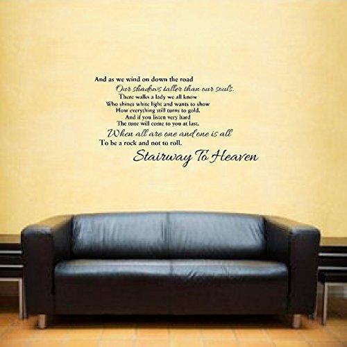 Led Zeppelin Stairway to Heaven music lyrics inspirational quote Wall Art Vinyl Sticker LSWA7103 (Black) by LightningSigns