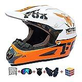 Casco Motocross Niño, ECE Certificación Casco de Moto para niños Downhill.Cascos de Cross de Moto Set con Gafas/Máscara/Red Elástica/Guantes (B, M / 54-55 cm)