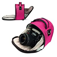 エントリーレベルデジタル一眼レフ&一眼レフカメラケース、フリップアウトデザイン (ピンクローレルの高級ケース) あらゆるデジタル一眼レフカメラと一眼レフカメラにフィットします。