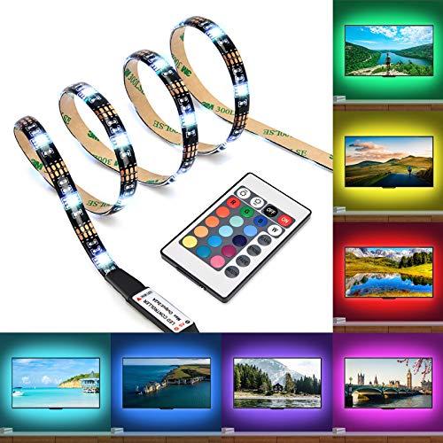 Kohree paski LED podświetlenie telewizora zestawy oświetlenia RGB światła z pilotem USB zasilanie do telewizora HDTV, akcesoria do telewizora płaskiego i komputera stacjonarnego, wielokolorowe, długość 35,4 cala